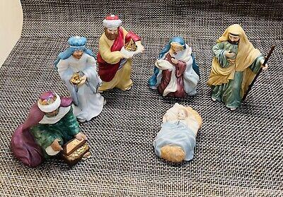 6 Pc Set Blessed Nativity Collection Hallmark Keepsake Fine Porcelain 1998
