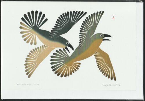 "DANCING RAVENS - 6"" x 9"" - art card by Kenojuak Ashevak- Free Shipping POD1285"