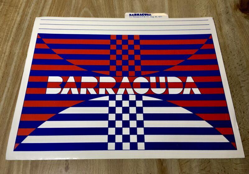1972 Plymouth Barracuda 'Cuda Press Release - Rare - Chrysler Public Relations