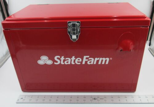 Nice State Farm red enamel cooler Ice chest bottle opener rare collectible