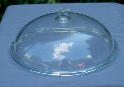 """Princess House High Domed Clear Round Glass Replacement Lid 10 3/8"""" OD 9.5"""" Rim"""