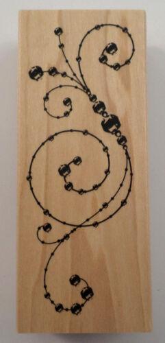 "Beads & Scroll Swirls Inkadinkado Wooden Rubber Stamp 2"" X 4"