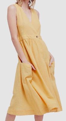 NEW Free People Diana Wrap Dress in Mustard - Size XS
