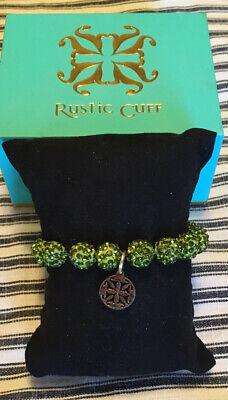 Green Crystal Rustic Cuff Bracelet