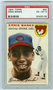 1954 Topps #94 Ernie Banks PSA 6 EX-MT Rookie Card Chicago Cubs