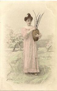 carte postale fantaisie enfant jeune fille en robe portant un vase. Black Bedroom Furniture Sets. Home Design Ideas