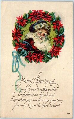 Vintage SANTA CLAUS Christmas Postcard BLUE SUIT & Cap, Poinsettia Wreath 1923 - Santa Claus Blue Suit