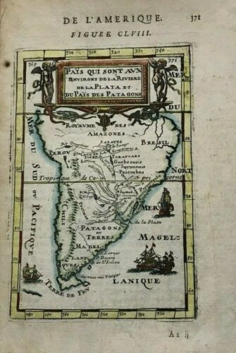 SOUTH AMERICA 1683 ALAIN MANESSON MALLET ANTIQUE MAP IN COLORS 17TH CENTURY