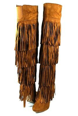 (Tan Catwalk Sexy 4 Layer Fringe Skirt Stiletto Over the Knee Thigh High Boots)