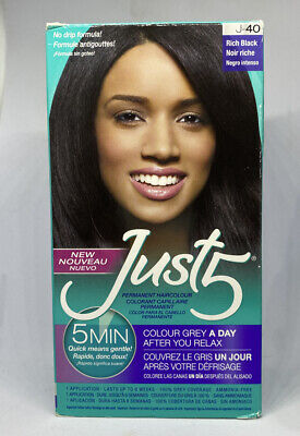 Just 5 Permanent Hair Color Natural Rich Conditioning Black J-40 Quick 5 Minute Just 5 Colorant