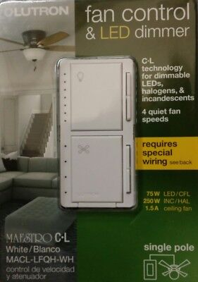 LutronMaestro Fan Control and Light Dimmer for dimmable LEDs, Incandescent, Hol