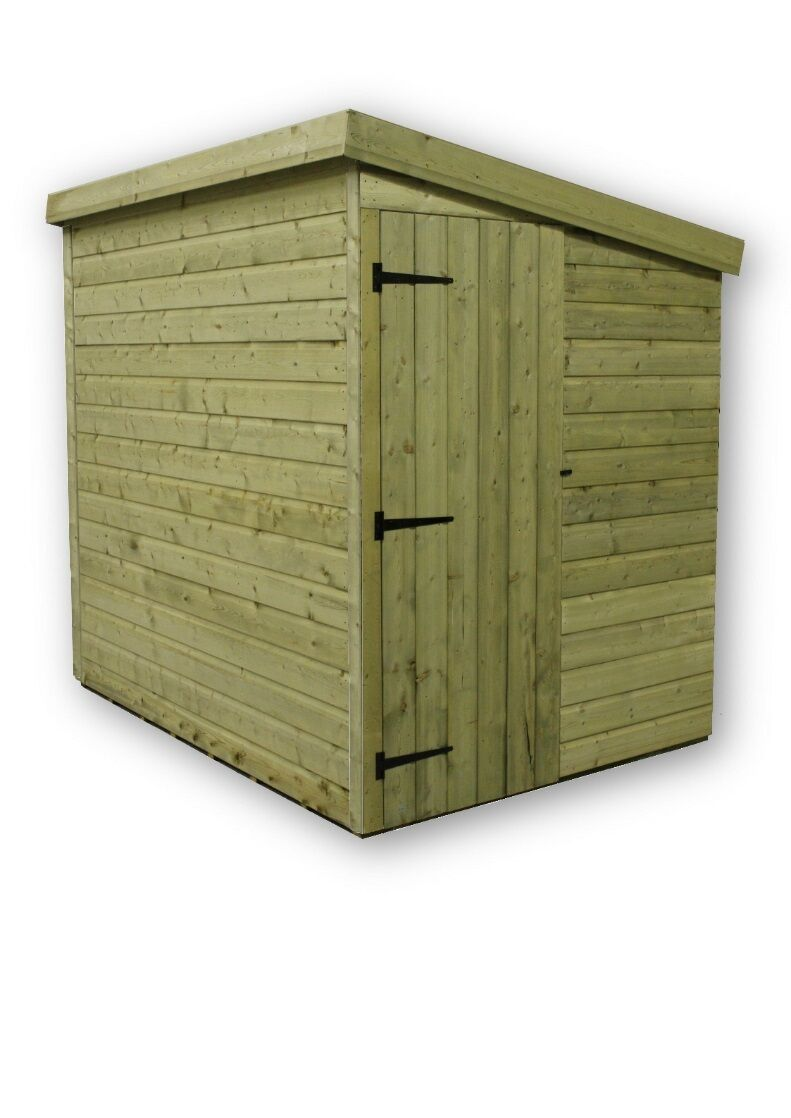 7x5 garden shed shiplap pent roof tanalised pressure treated door right end