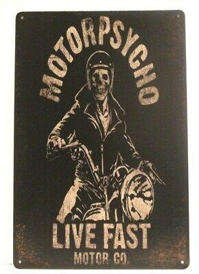 New Motorpsycho Tin Poster Sign Vintage Skull Skeleton Motor Psycho Motorcycle
