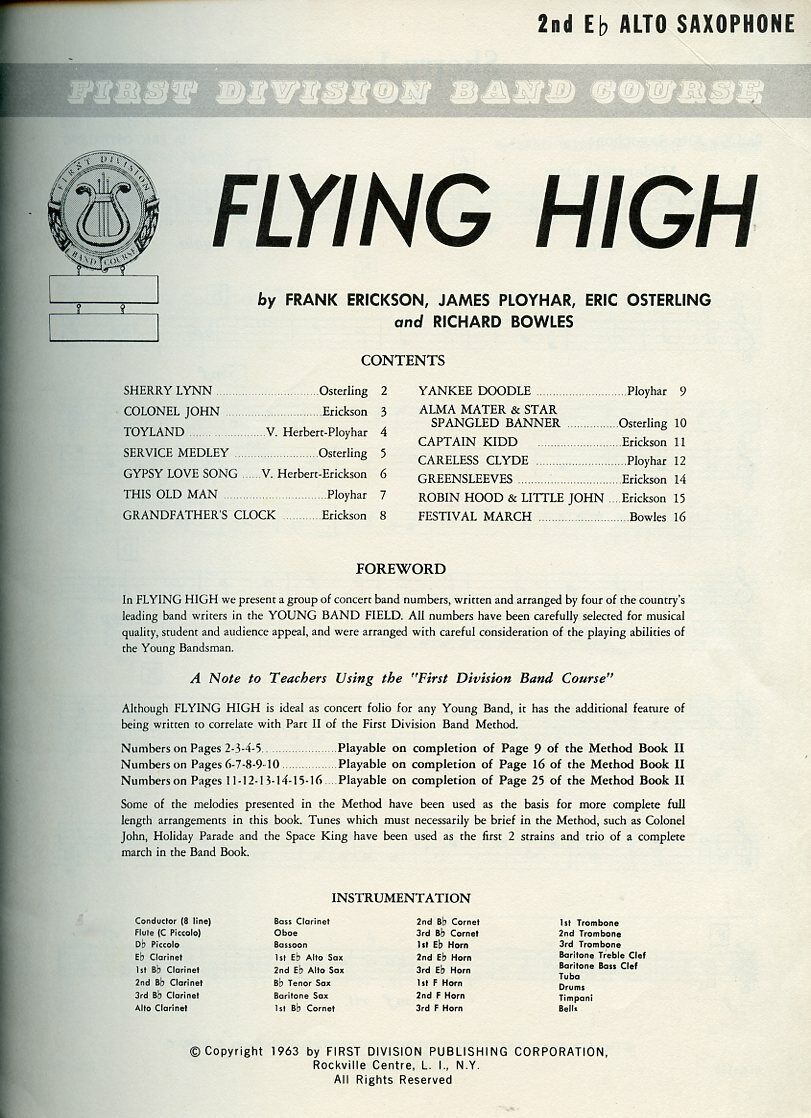 Songbook - First Division Band Course - Flying High,2nd Eb Alto Sax  - $14.95