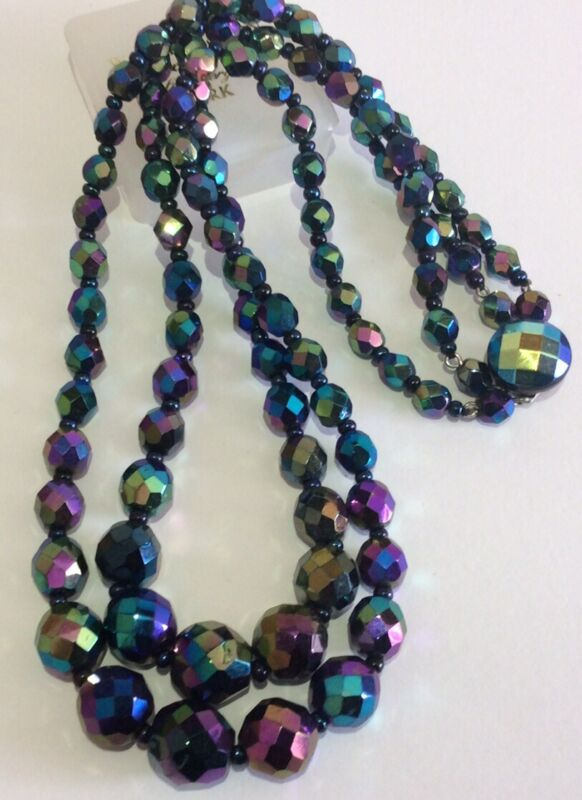 Vintage Jewellery Austrian Crystal Peacock Carnival Glass Bead 2 Strand Necklace