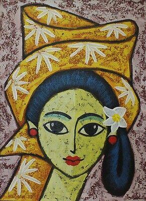 BALIMÄDCHEN GEMÄLDE Mädchenbild Leinwand Balimalerei Cewek Junge Frau Bild Girl