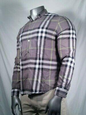 Burberry Brit Shirt Long Sleeve Grey Black Nova Check Men's Size XL.