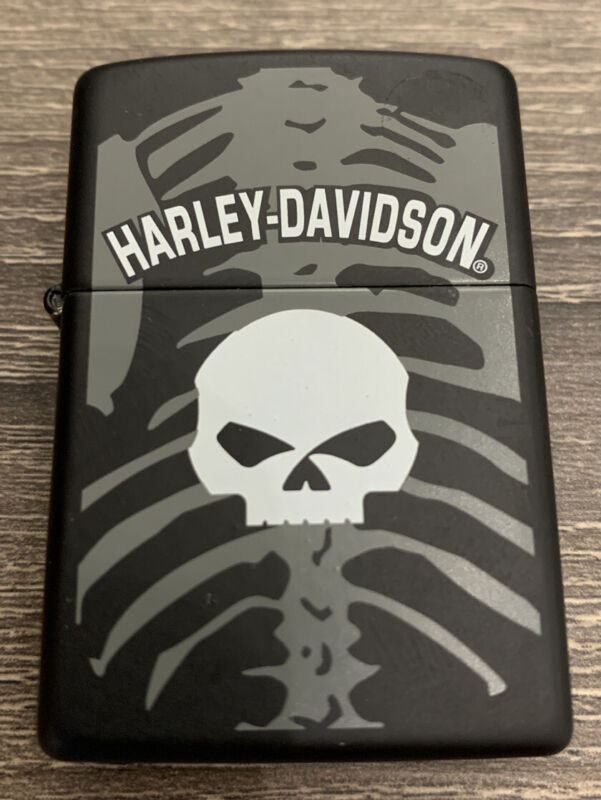 Harley Davidson Brass Black Skull Zippi Lighter Unfired