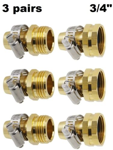 """3/4"""" Brass Garden Water Hose Connector Repair Mender Kit Ends Fittings Clamp"""