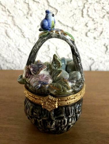 Heather Goldminc Handpainted Blue Sky Trinket Box Basket w Eggs 2003 4.25in T