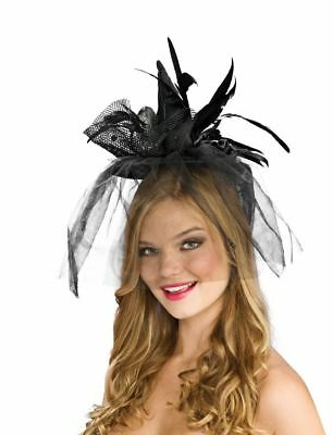 Mini Witch Hat Black Veil Spiders Headband Adult Halloween Costume Accessory