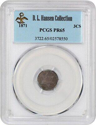 1871 3cS PCGS PR 65 ex: D.L. Hansen - Low Mintage Gem - 3-Cent Silver