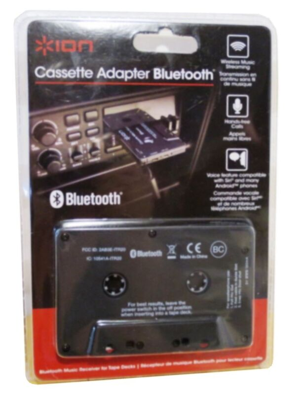 Bluetooth Cassette Adapter with Built-In Mic. for hands-free calls,