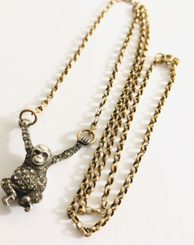 Antique Victorian 9 Ct Gold And Silver Rare Monkey Necklace  Sterling ,375