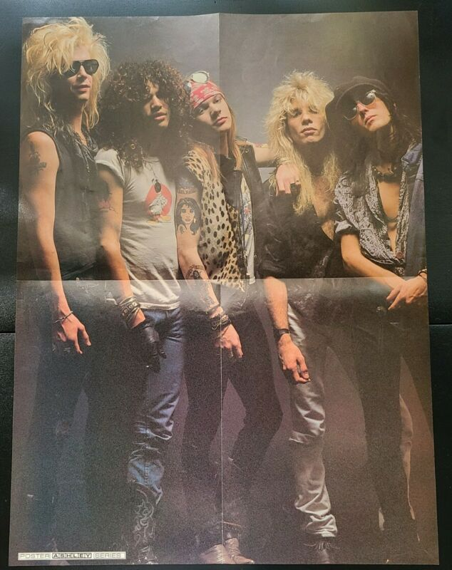 Tesla Guns N Roses Folded Double Sided Poster Vintage Rare