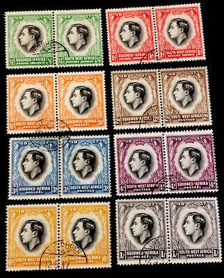 South West Africa Coronation 1937 FULL PAIR VFU SET x8 pairs NH