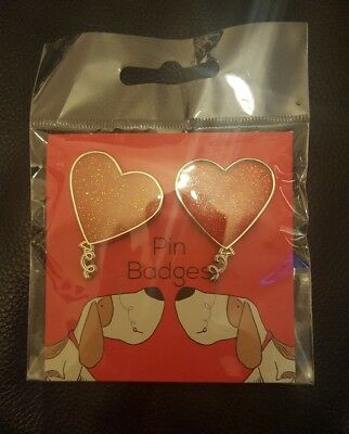 Pair of Heart Pin Badges Brand New