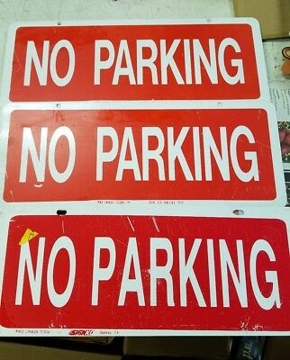 Lot Of 3 No Parking Sign Aluminum Metal 615 Nos Minor Scratches From Storage