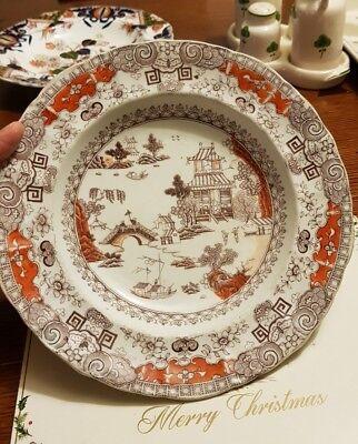 Antique Masons ironstone plate in unusual orange colour