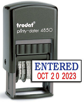 Trodat 4850 Date Stamp With Entered Self Inking Stamp - Bluered Ink