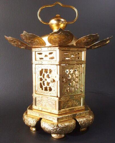 JAPANESE BUDDHIST LARGE BRASS HANGING LANTERN GOLD 10.4 inch 26.5 cm Width USED