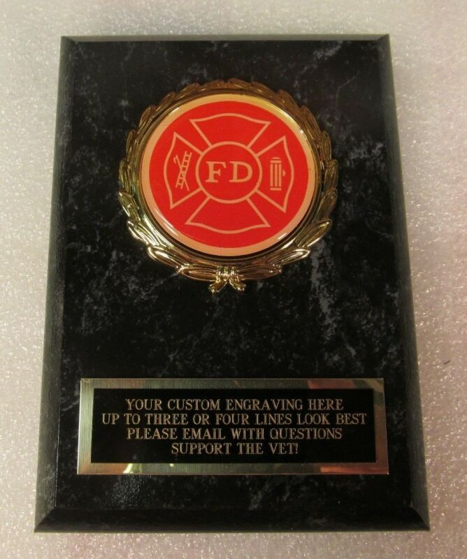 Fire Department Firefighter Award Plaque FREE Engraving Ships 2 Day Priority