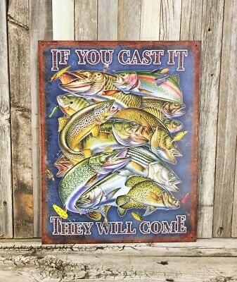 If I/'m Missin I/'m Probably Fishin Fishing Humorous Funny Pike Tin Metal Sign