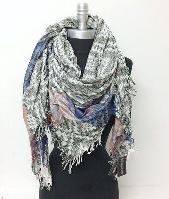 NEW effect diamond yarn Square Scarf w/ solid stripe Wrap shawl Reversible Men