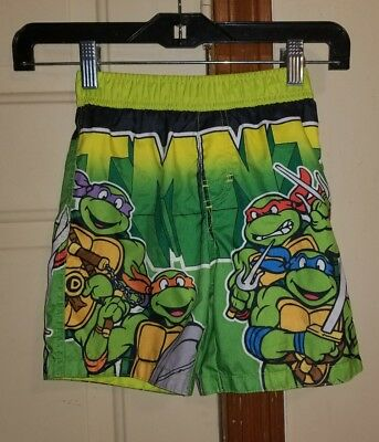 Teenage Mutant Ninja Turtles Boys Toddler Swim Trunks 4T Green Bathing Suit TMNT - Green Ninja Suit