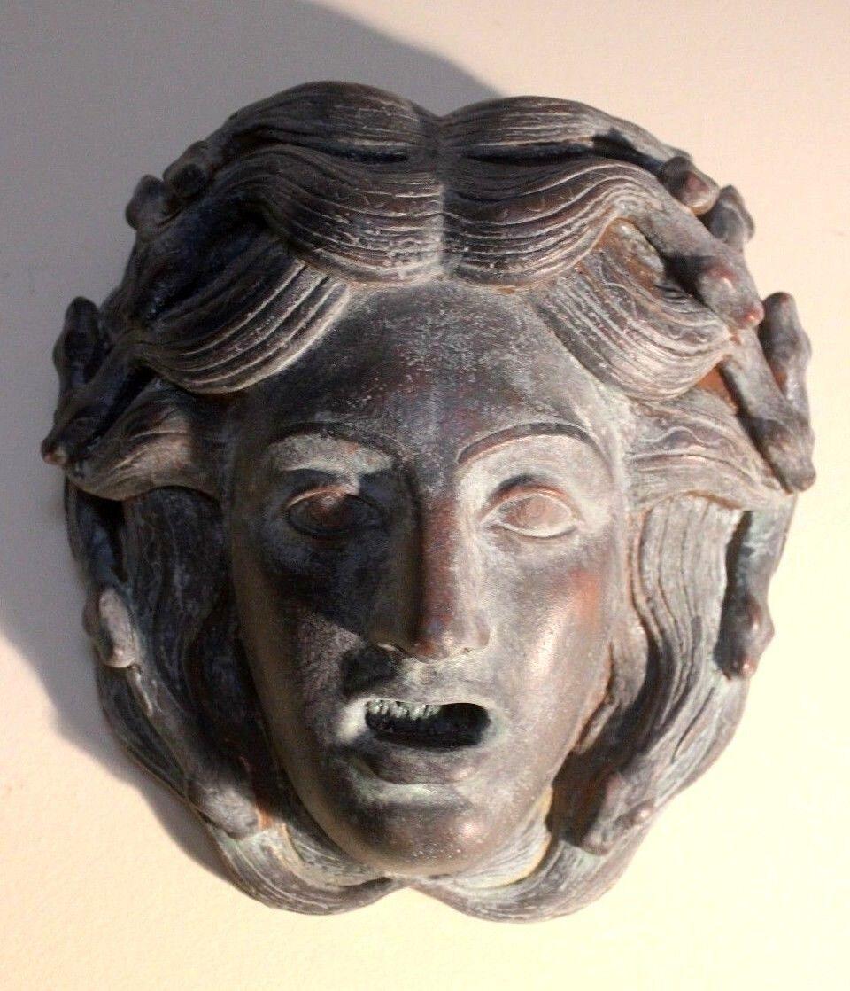 Medusa Greek Roman Mythology Goddess Mask Wall Art Plaque Snakes Bronze Copper - $125.00