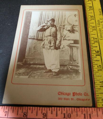Cabinet Card Photo Turkish man/ JB Wilson Chicago Photo Co 1800s Ghost shot back