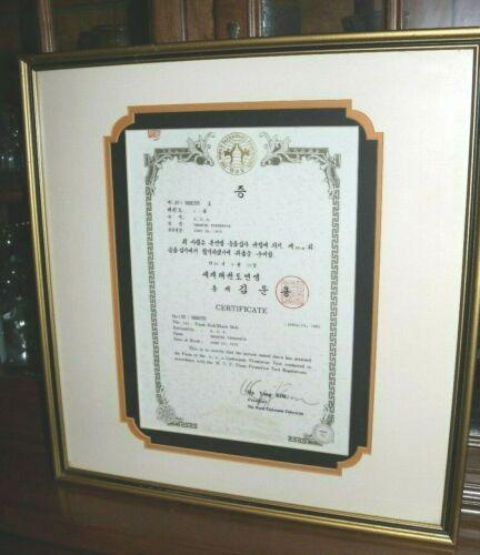 Hand Signed Un Yong Kim President Taekwondo Federation 1st Poom Red/Black Belt