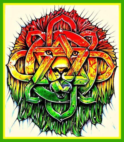 "4"" Lion of Zion Star of David vinyl sticker. Reggae, Rasta decal for laptop."