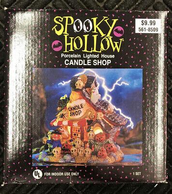 2001 Spooky Hollow CANDLE SHOP Porcelain Light Up House Halloween Decoration