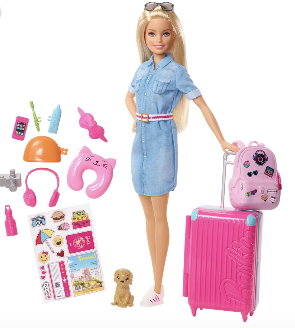 🌟Barbie Doll🌟and Travel Set with Puppy🌟Luggage & 10+ Accessories(🇺🇸)