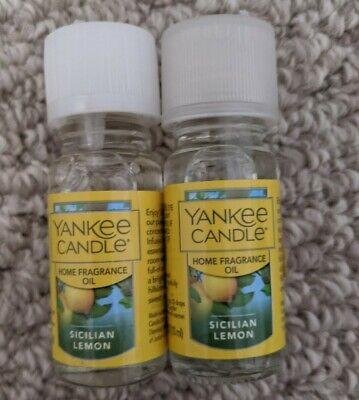 Yankee Candle Sicilian Lemon Home Fragrance Oil Set (.33oz) Lot of 2