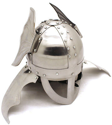 Medieval Warrior Brand 20G Steel Winged Viking Helmet w/ Leather (Viking Warrior Helmet)