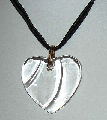 Authentic BACCARAT France Clear Colorless HEART Coeur Crystal Pendant Necklace