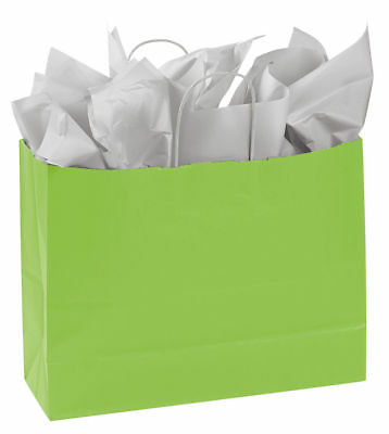 """Paper Shopping Bags 25 Lime Green Handles Merchandise 16"""" x 6"""" x 12 ½"""" Large - Lime Green Gift Bags"""