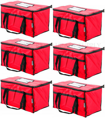 6 Pack Insulated Red Catering Delivery Food Full Pan Carrier Hot Cold Cooler Bag